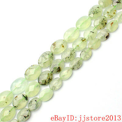 """10x14,12x16,13x18mm Natural Faceted Oval Green Prehnite Loose Beads Strand 15"""""""