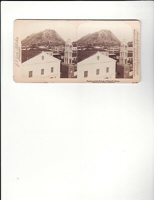 "Vintage Stereoscope Card ""Nauplia and the Fortress of Palamidi, Greece"""