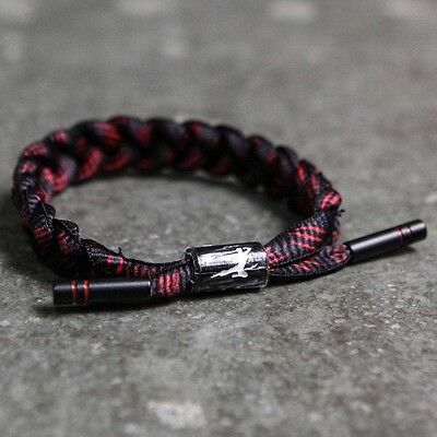 BAIT x Bruce Lee x Rastaclat Shoelace Bracelet - Dragon black red