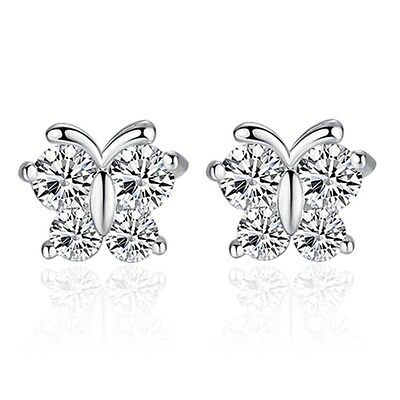 Women Ladies 925 Sterling Silver Butterfly Stud Earrings with White Crystals