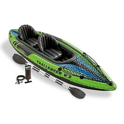 Intex K2 Challenger Kayak 2 Man Inflatable Canoe with Oars And Pump