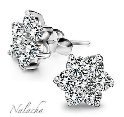 925 Sterling Silver Snowflake Crystal Stud Pin Earrings Jewellery Womens Ladies