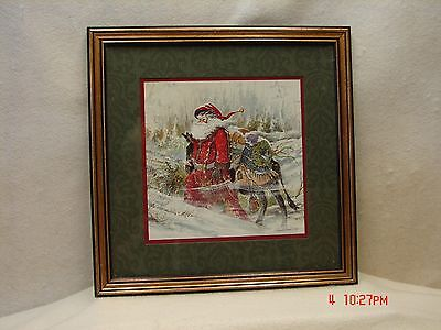 Framed Santa Picture with Presents on Donkey by Artist Peggy Abrams