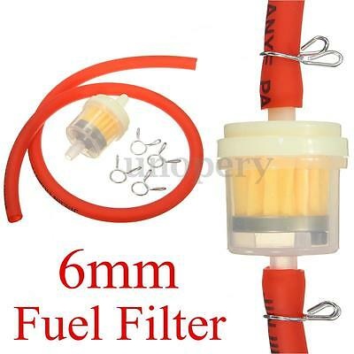 Red 6mm Gas Fuel Filter Petrol Pipe Hose Line + 4 Clips Mini Moto Scooter Bike