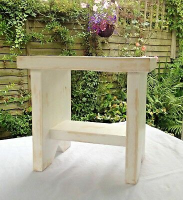 Small Vintage Style Shabby Chic Wooden White Rustic Stool Sideboard  Shelf Decor