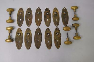 5 Sets Of Antique Brass Door Knobs And Plates