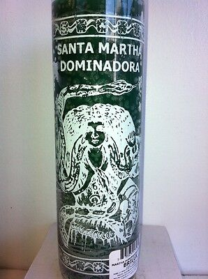 Saint Martha The Dominator 7 Day Unscented Green Candle In Glass (Santa Marta)