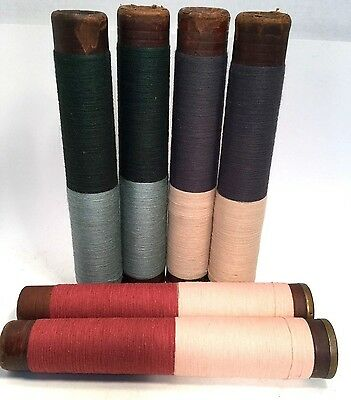 Threaded Textile Bobbins Spools Composite Quills Vintage Primitive Lot of 6