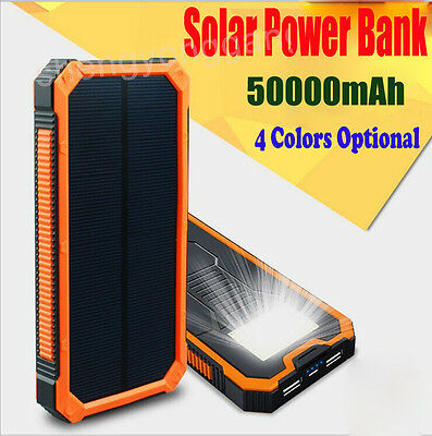 USB Portable External Battery Solar Power Bank Dual Charger For Phonees 50000mAh