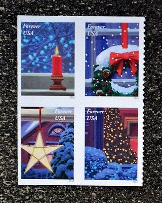 2016USA Forever - Holiday Windows - Block of 4  Mint   candle star christmas