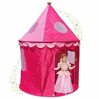 Girls Pink Princess Castle Play Tents w/ Sunroof and Pop Up Design