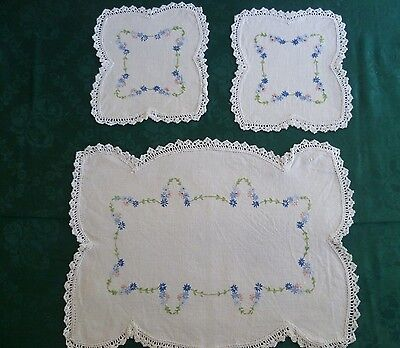 Vintage Hand Embroidered Large & 2 Small Doiley  Floral Duchess Set