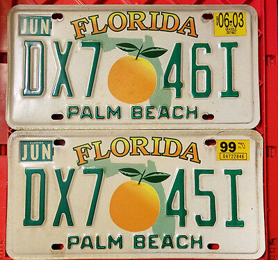 Florida License Plate Set of 2 Consecutive (1997-2003 Style) Palm Beach FL Tag