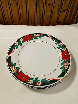 Tienshan Deck the Halls 4 Salad Plates Poinsettias Green Red Christmas Dishes