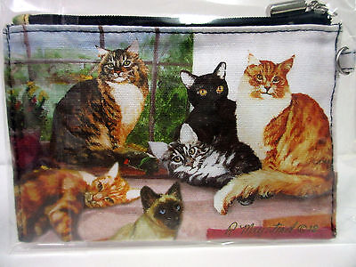 New Cat Zippered Handy Pouch By Ruth Maystead 5 Cats Coin Purse