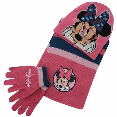 Winter Hat Gloves And Scarf Sets MINNIE MOUSE Girls Infants Gift