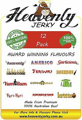 12 Flavour Sample Pack 100% Premium Aust Dried BEEF JERKY PACK 12 FLAVOURS