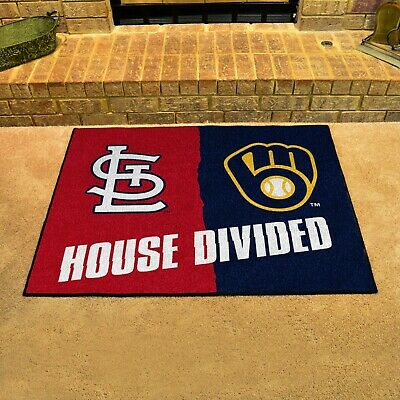 St. Louis Cardinals - Milwaukee Brewers House Divided All Star Area Rug Mat