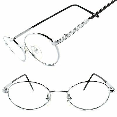 True Vintage Classic Indie Mens Womens Silver Clear Lens Oval Round Eye Glasses