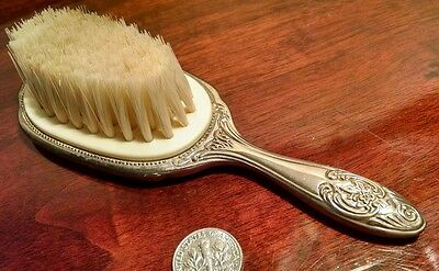 Small Vintage Silverplate Baby's Childs Fine Hair Brush Victorian Style Repoussé