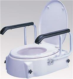 COM802337-Raised Toilet Seat With Swing Back Arms-100kg Weight Capacity