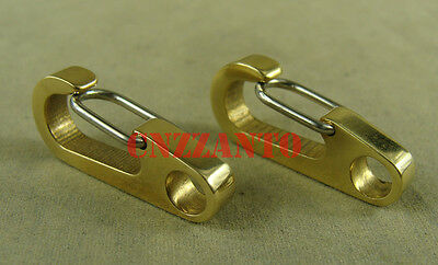 "2pcs 1.3"" brass Carabiner Spring Snap Hook Clip for keychain key ring"