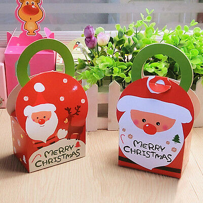 10PCS Xmas Party Favor Gifts Biscuits Muffin Cake Packing Box With Handle NEW