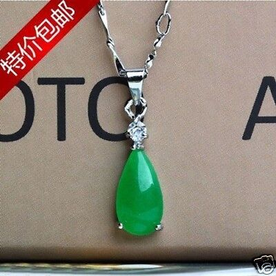 Hand-carved Chinese 100% Natural green Jade pendant Insert Silver carving