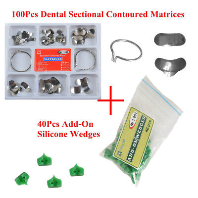 1Set Dental Sectional Contoured Matrices Matrix Delta Ring+40Pcs Add-On Wedges