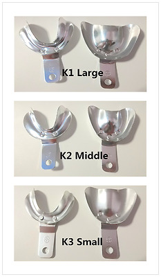 3Pairs Dental Metal Impression Trays Aluminium Large Middle Small Upper&Lower
