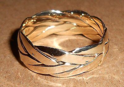 10Kt  Italy Yellow Gold Braided Woven Band Ring Size 8