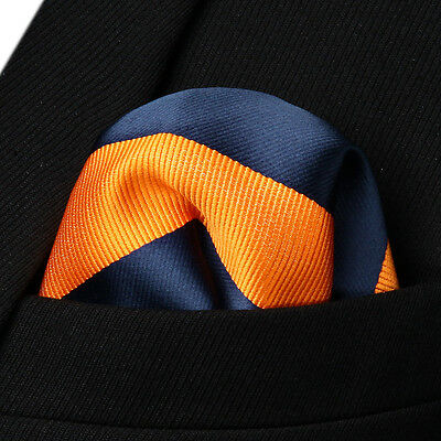 HS904N Navy Blue Orange Stripe Men Silk Party Handkerchief Pocket Square Hanky