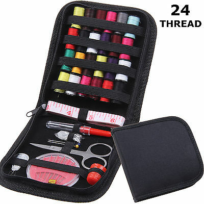 Travel Home Sewing Kit Case Needle Thread Tape Scissor Set Button Handcraft UK
