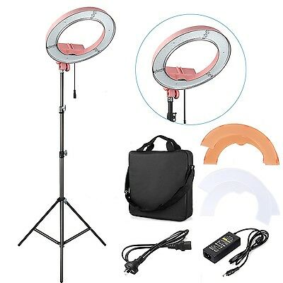 "ES180 Pink 180pcs LED 13""  5500K Dimmable Adjustable Ring Light+ Filter + Bag"