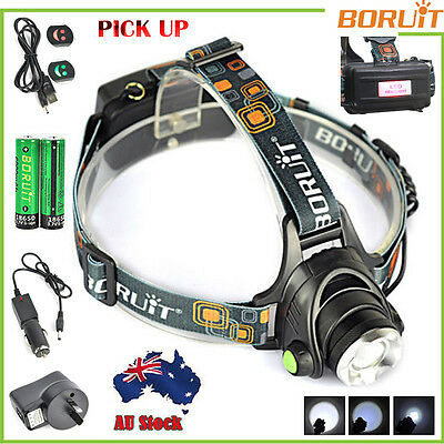 BORUiT 8000LM XM-L T6 LED HeadLamp Zoomable HeadLight Torch 6000mAh 18650 Charge