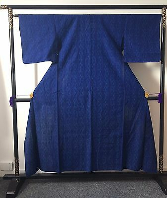 Vintage authentic handmade Japanese kimono for women, blue, Japan (E278)