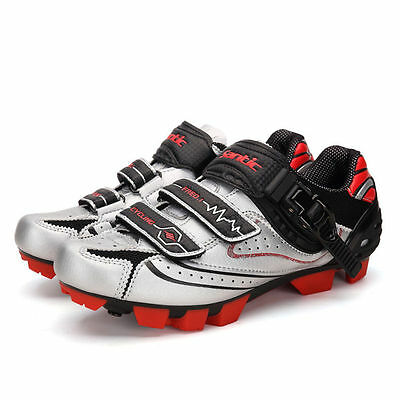 Santic MTB Cycling Shoes Bike Bicycle Shoes Silver Red Black