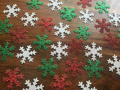 Silver red green Christmas snowflake glitter Table Confetti Party decorations