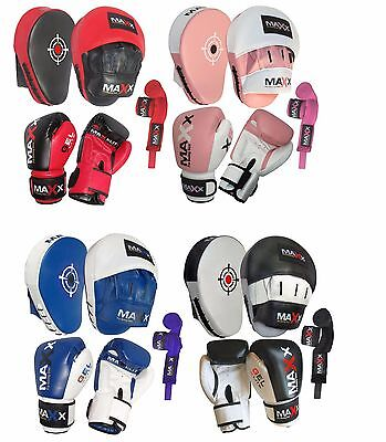 Maxx Pro GEL Leather Gel Curved Focus Pads + Boxing gloves Hand Wrap mma ufc pad