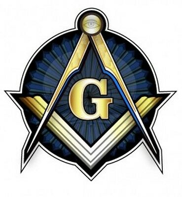 Masonic Square and Compasses Gold and Blue Round