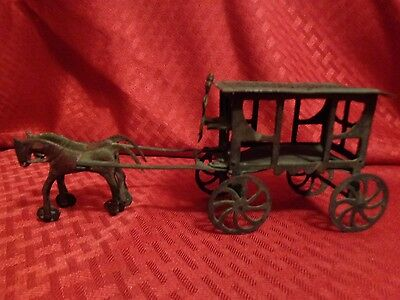 Antique Folk Art Asian Chinese Penny Toy Horses & Carriage Buggy Tooled Meiji