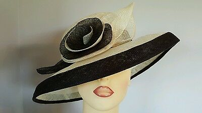 Ladies Occasion Formal Wedding Races Mother Bride Hat Natural & Brown