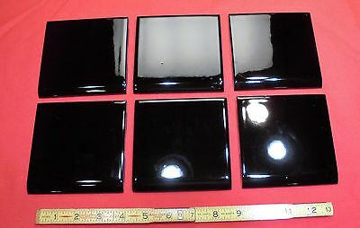 Vintage...Glossy Black...Ceramic...Mastic...Bull-nose Tiles...NOS...by Mid-State