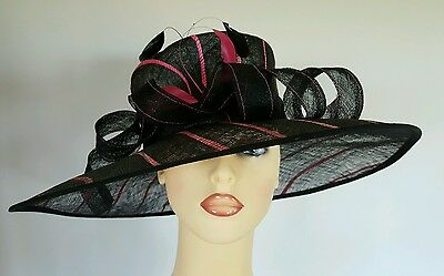 Ladies Occassion Wedding Races Mother Bride Hat Black Pink By Viyella Stunning