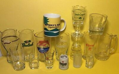 Alcohol Beer Glasses Lot 16 Cups Mugs Shots Samuel Adams Coors Jack Daniels Jose