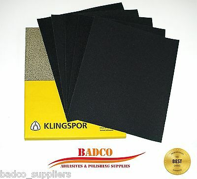 WET and DRY Sandpaper KLINGSPOR mixed grit 800 1000 1200 1500 2000 - PACK OF 5