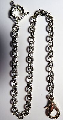 "VINTAGE POCKET WATCH FOB CHAIN SILVER TONE 14"" long & 6mm Wide"