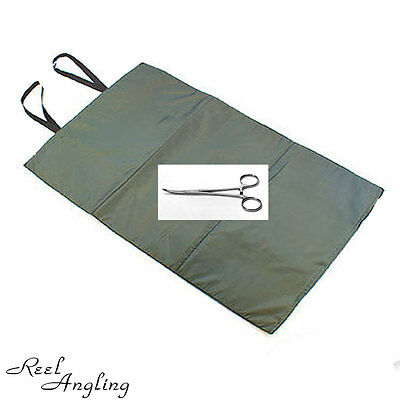 "Carp Fishing Unhooking Session Mat Quick Fish & 5"" Curved Forceps Ngt Tackle"