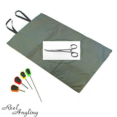 "Session Unhooking Mat & 5"" Curved Forceps & Baiting Needle Set Ngt Coarse Tackle"