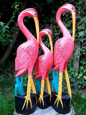 Colourful Carved Wooden Pink Flamingo Large 50 cm Medium 47 cm Small 40 cm Birds